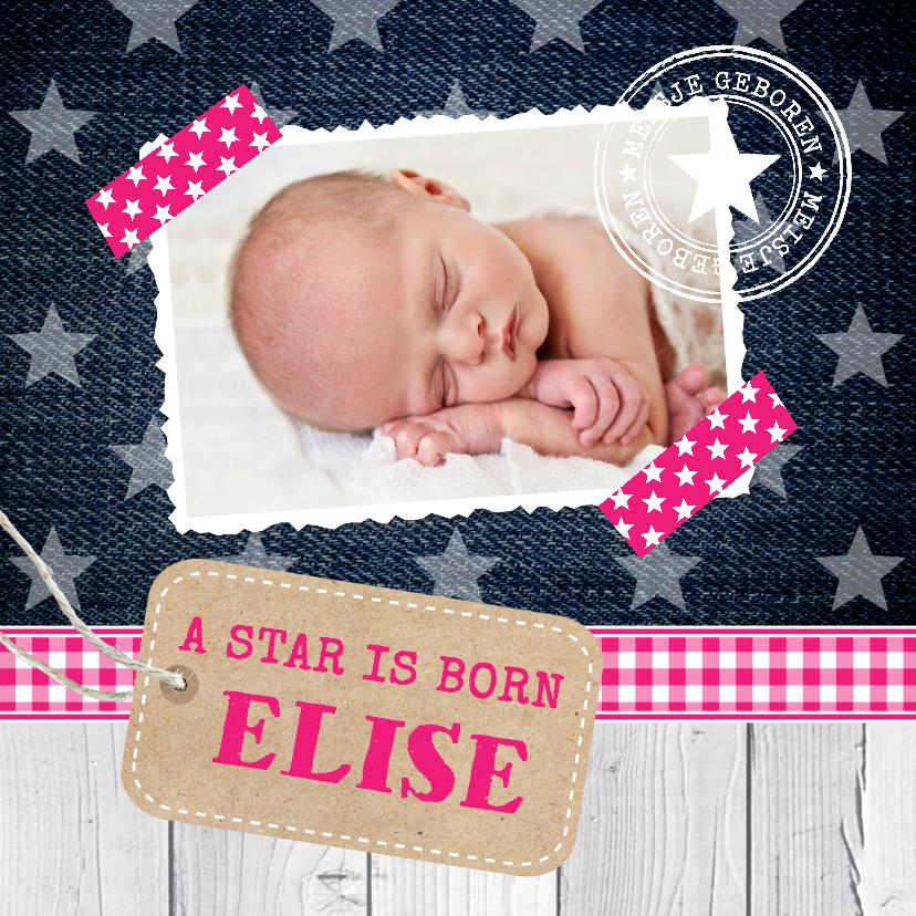 Geboortekaartjes - Geboortekaartje meisje foto label