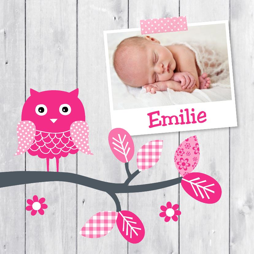 Geboortekaartjes - Geboortekaartje meisje foto uil hout