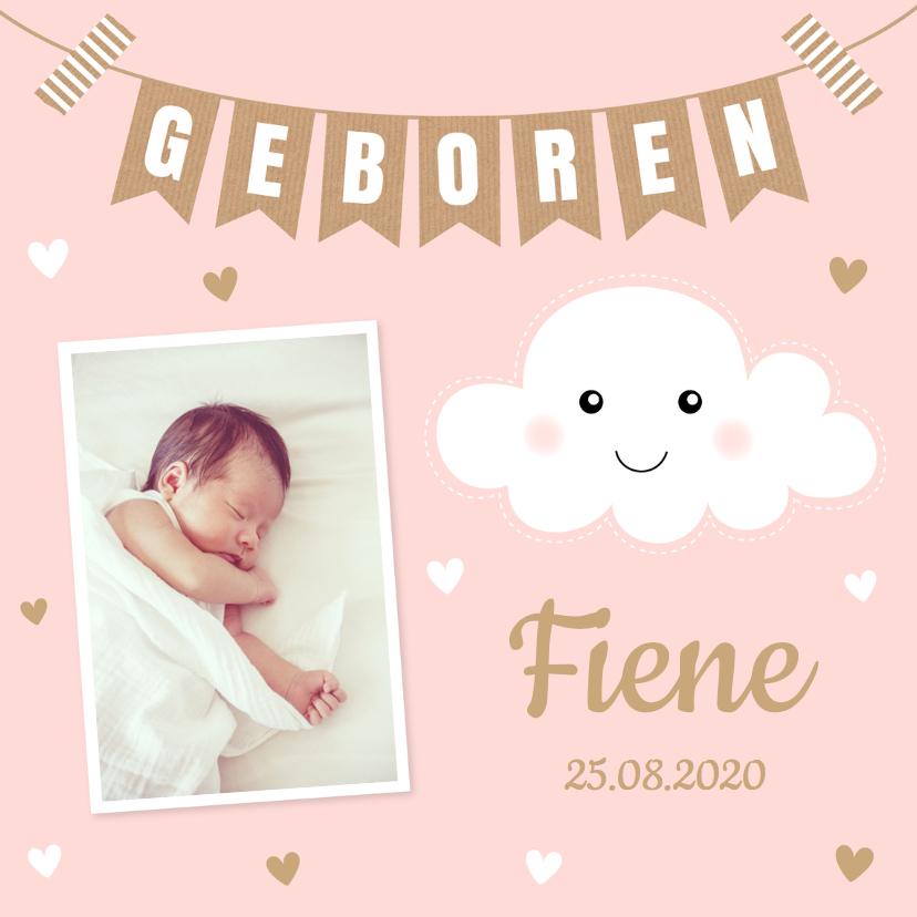 Geboortekaartjes - Geboortekaartje meisje foto wolkje slinger