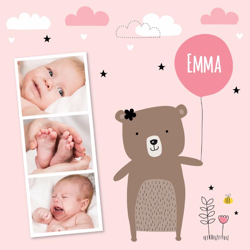 Geboortekaartjes - Geboortekaartje meisje fotocollage beertje