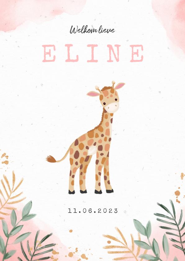Geboortekaartjes - Geboortekaartje meisje giraf waterverf botanisch