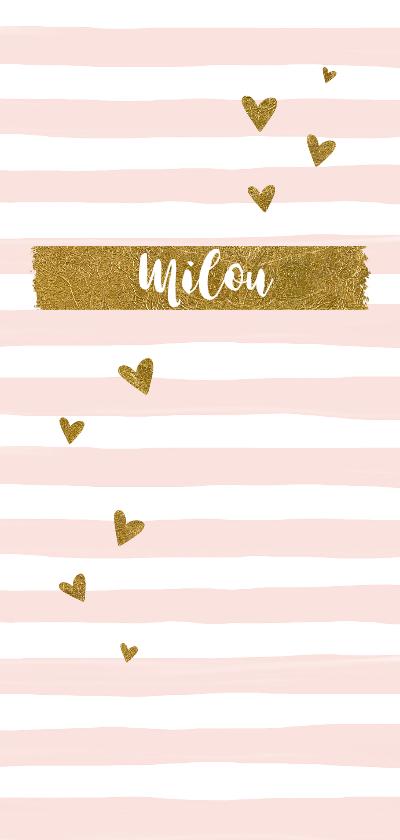 Geboortekaartjes - Geboortekaartje meisje gouden hartjes