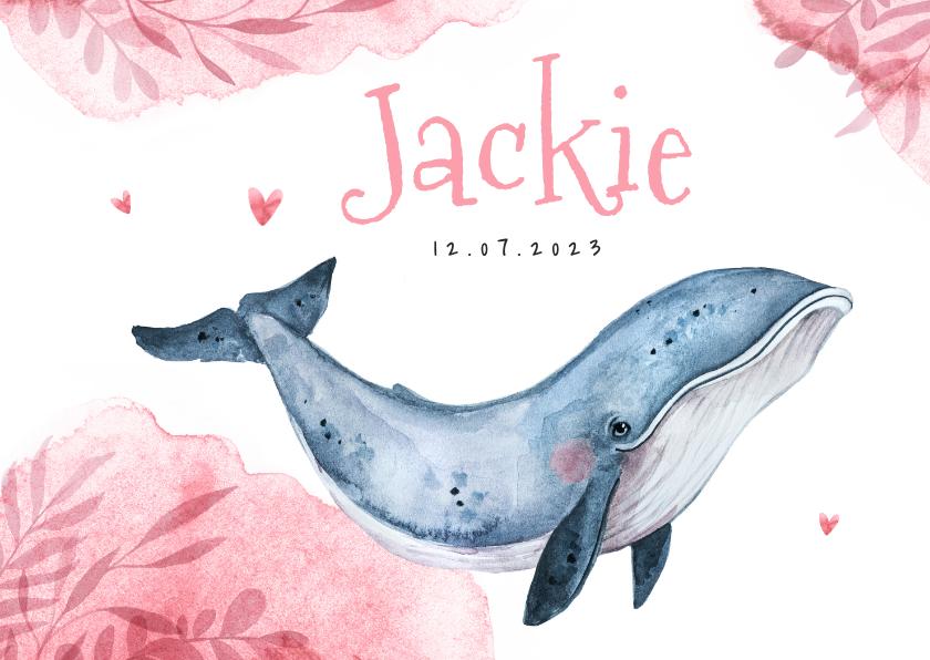 Geboortekaartjes - Geboortekaartje meisje hip walvis waterverf hartjes lief