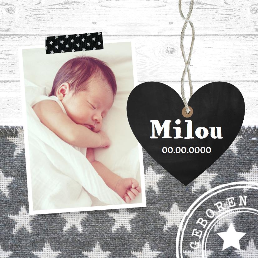 Geboortekaartjes - Geboortekaartje meisje hout hartje sterren LB