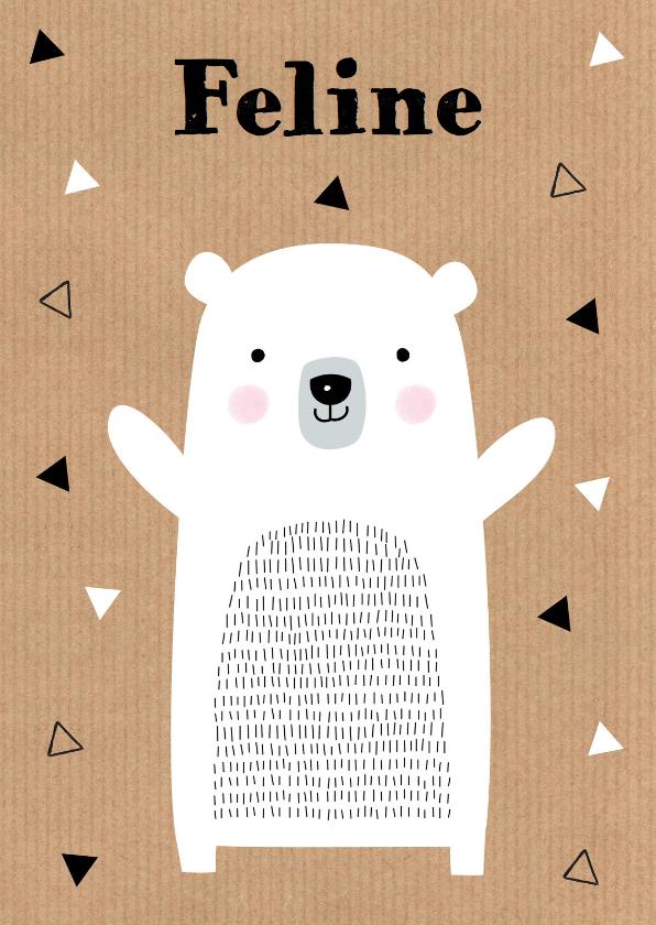 Geboortekaartjes - Geboortekaartje meisje ijsbeer kraft