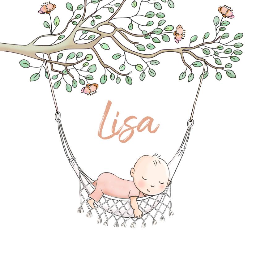 Geboortekaartjes - Geboortekaartje meisje in hangmat