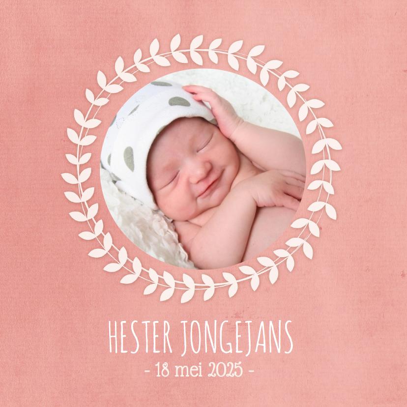 Geboortekaartjes - Geboortekaartje Meisje Krans Fot