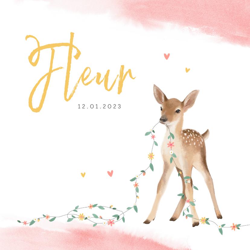 Geboortekaartjes - Geboortekaartje meisje lief hertje bloemen lente waterverf