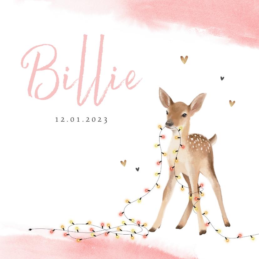 Geboortekaartjes - Geboortekaartje meisje lief hertje lampjes winter waterverf