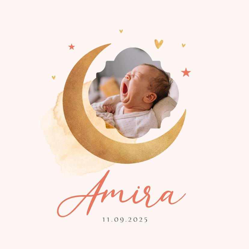 Geboortekaartjes - Geboortekaartje meisje maan sterren foto waterverf