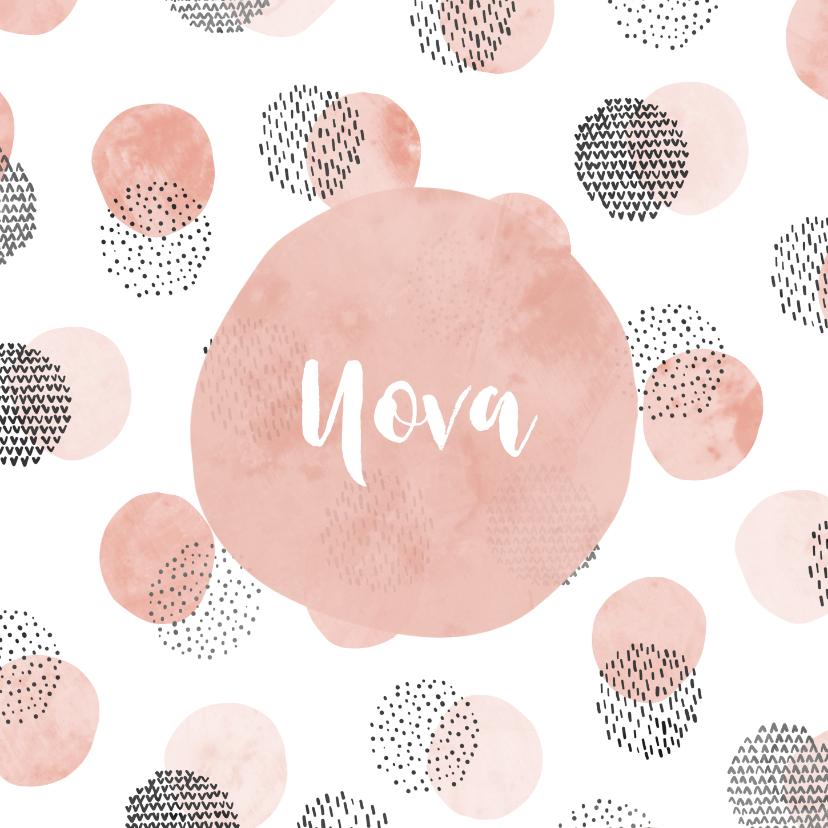 Geboortekaartjes - Geboortekaartje meisje met cirkelpatroon vierkant