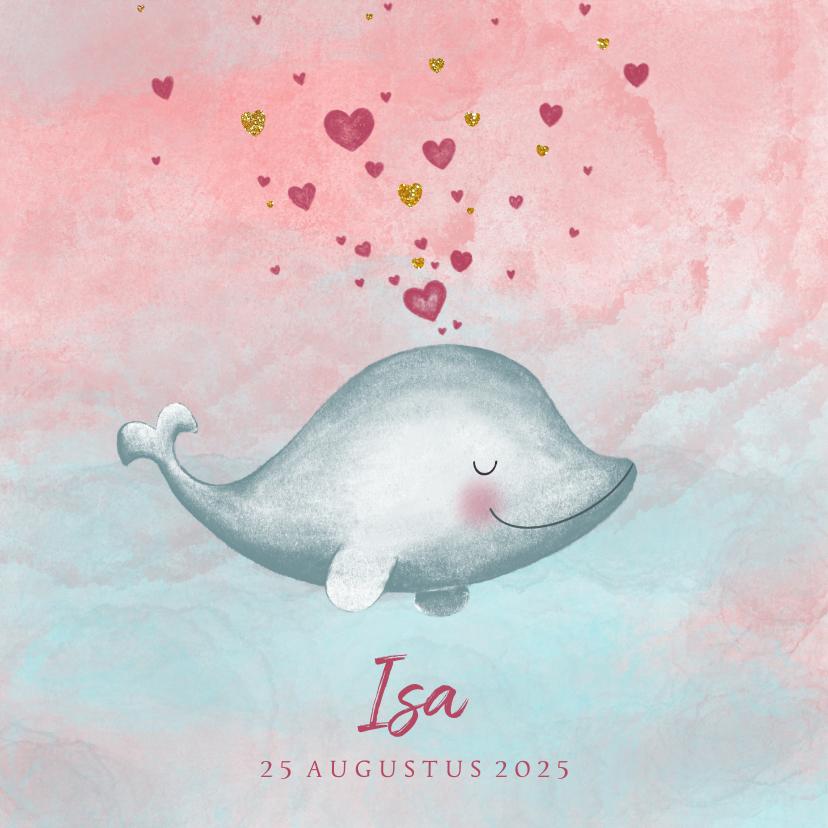 Geboortekaartjes - Geboortekaartje meisje met een lief dolfijntje met hartjes