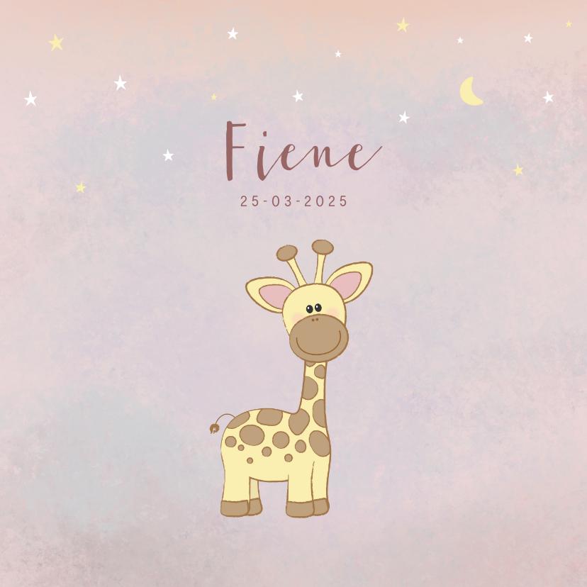 Geboortekaartjes - Geboortekaartje meisje met een lief girafje