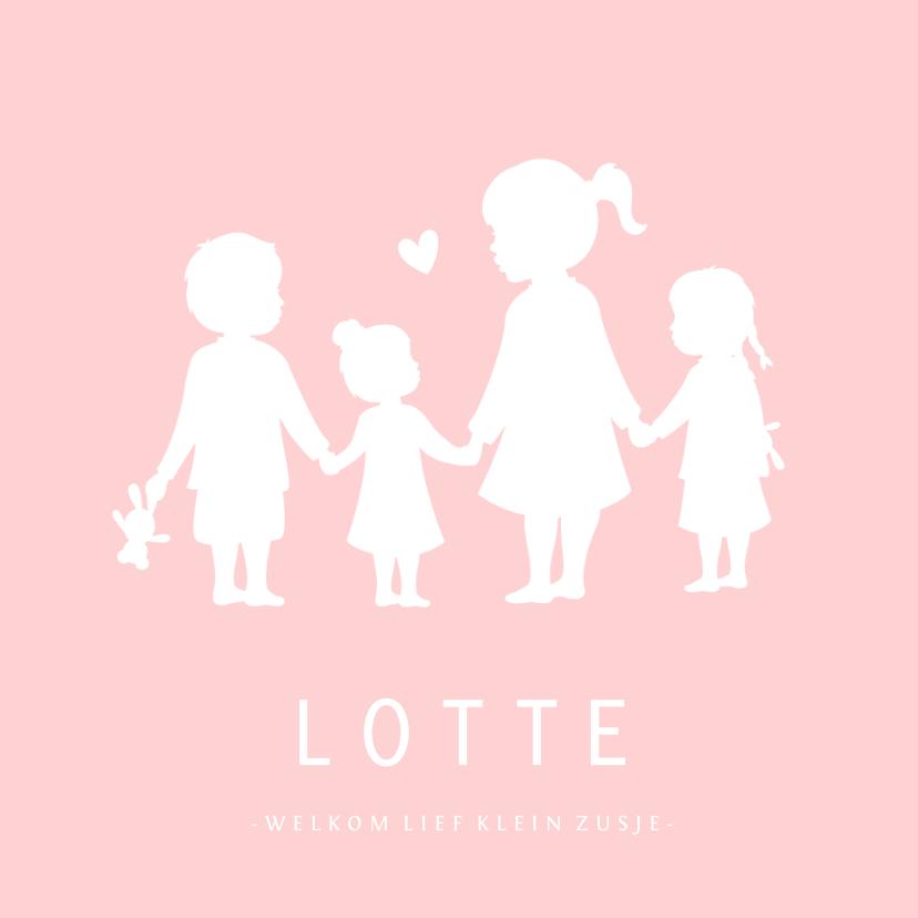 Geboortekaartjes - Geboortekaartje meisje met een silhouet van 4 kinderen