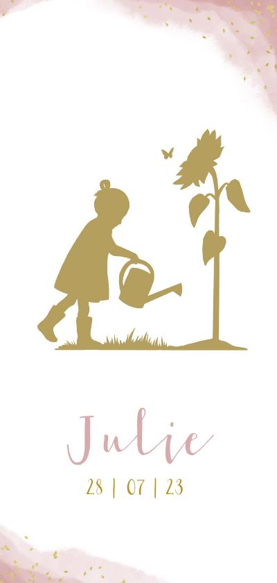 Geboortekaartjes - Geboortekaartje meisje met gieter en zonnenbloem