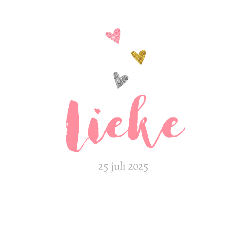 Geboortekaartjes - Geboortekaartje meisje met glitter hartjes
