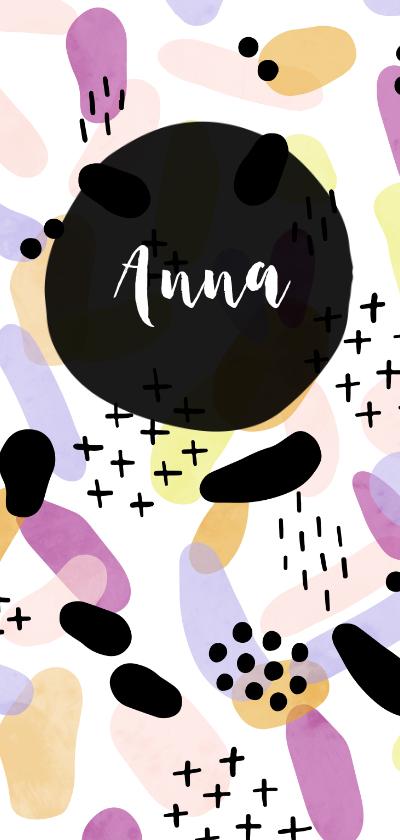 Geboortekaartjes - Geboortekaartje meisje met kleurrijk patroon langwerpig