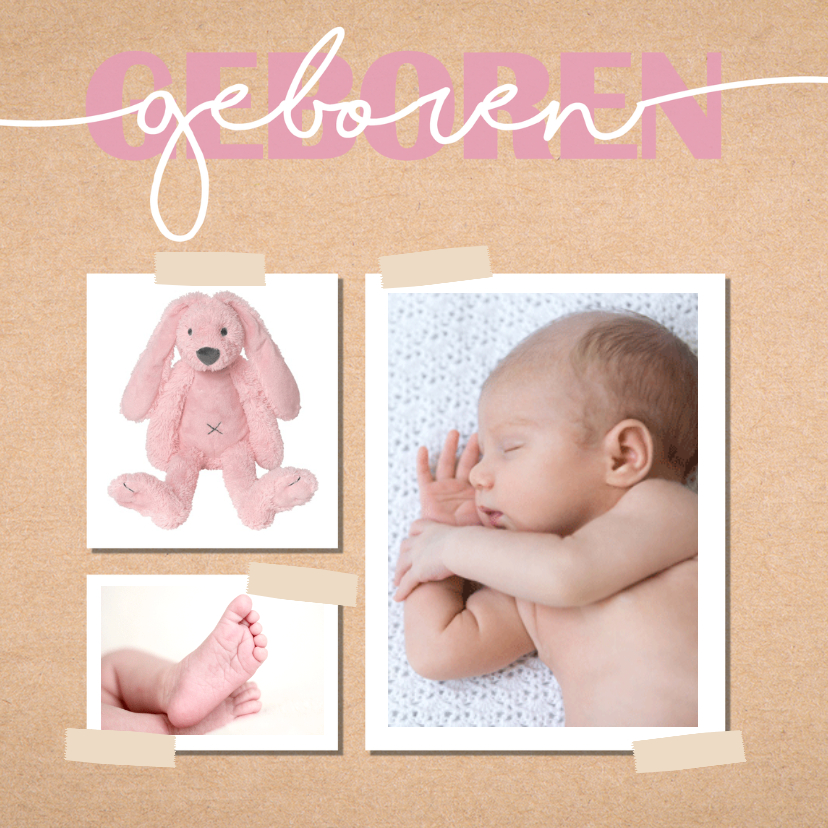 Geboortekaartjes - Geboortekaartje meisje met kraft achtergrond en hartjes