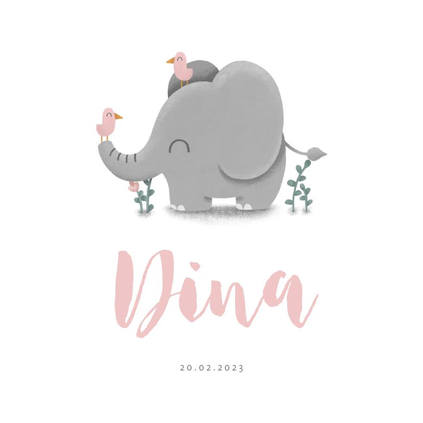 Geboortekaartjes - Geboortekaartje meisje met lieve olifant en vogeltjes
