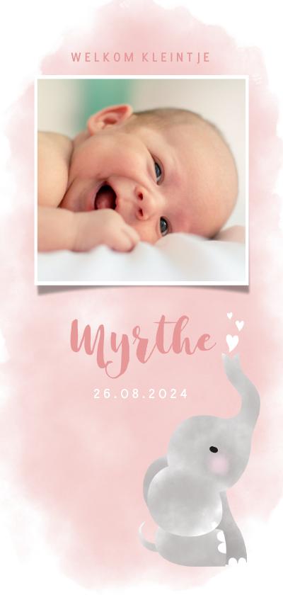 Geboortekaartjes - Geboortekaartje meisje met olifantje, waterverf en hartjes