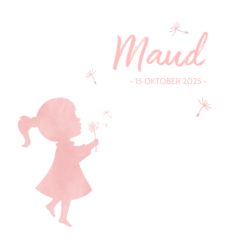 Geboortekaartjes - Geboortekaartje meisje met paardenbloem waterverf silhouet