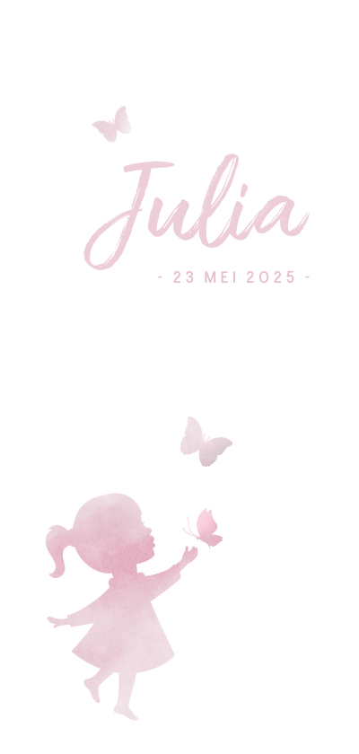 Geboortekaartjes - Geboortekaartje meisje met silhouet in waterverf en vlinder