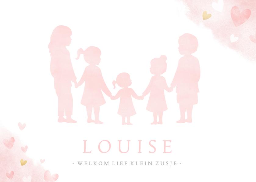 Geboortekaartjes - Geboortekaartje meisje met silhouet van 5 kinderen en hartje