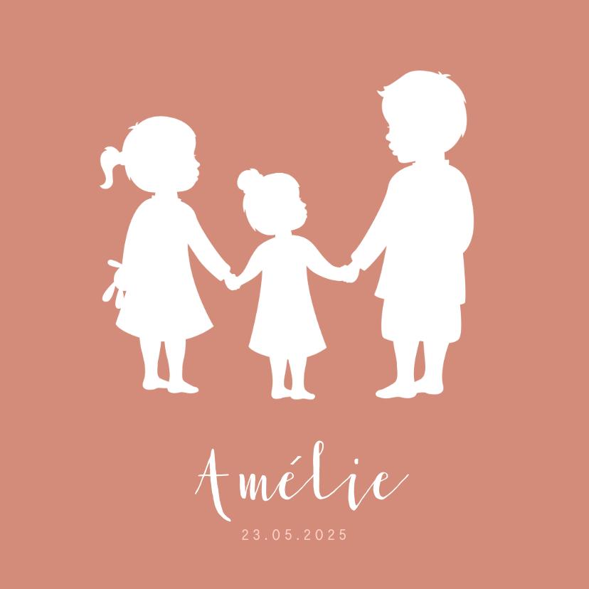Geboortekaartjes - Geboortekaartje meisje met silhouet van grote broer en zus