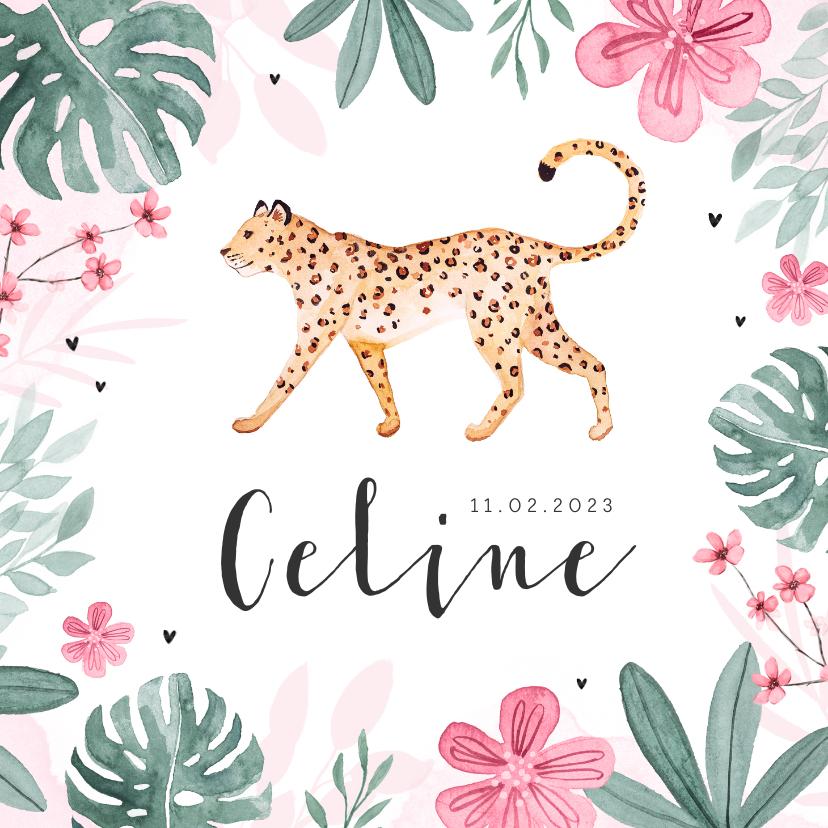Geboortekaartjes - Geboortekaartje meisje panter luipaard jungle roze hartjes