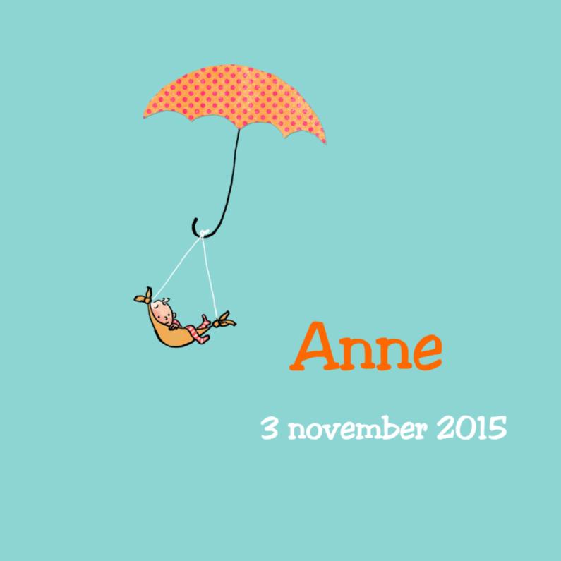 Geboortekaartjes - Geboortekaartje meisje paraplu