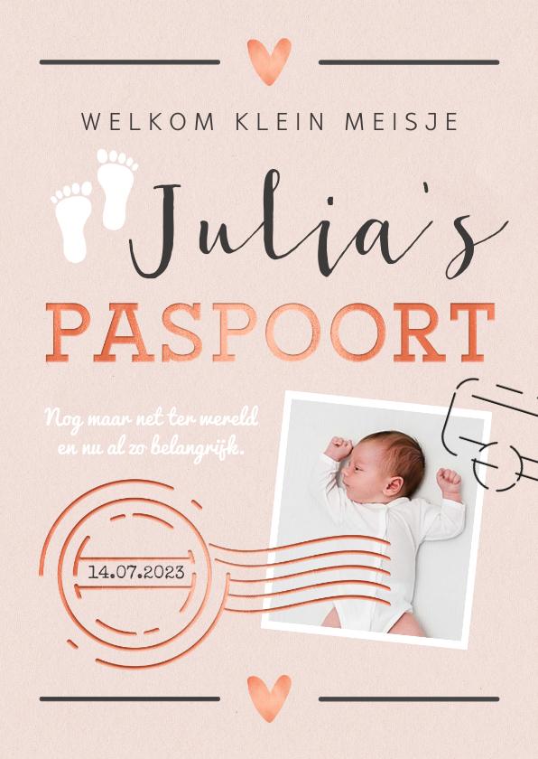 Geboortekaartjes - Geboortekaartje meisje paspoort made with love stempels