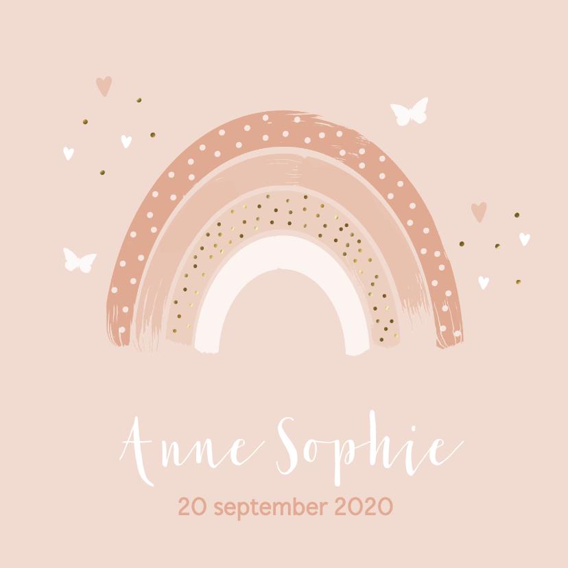 Geboortekaartjes - Geboortekaartje meisje Regenboog roze