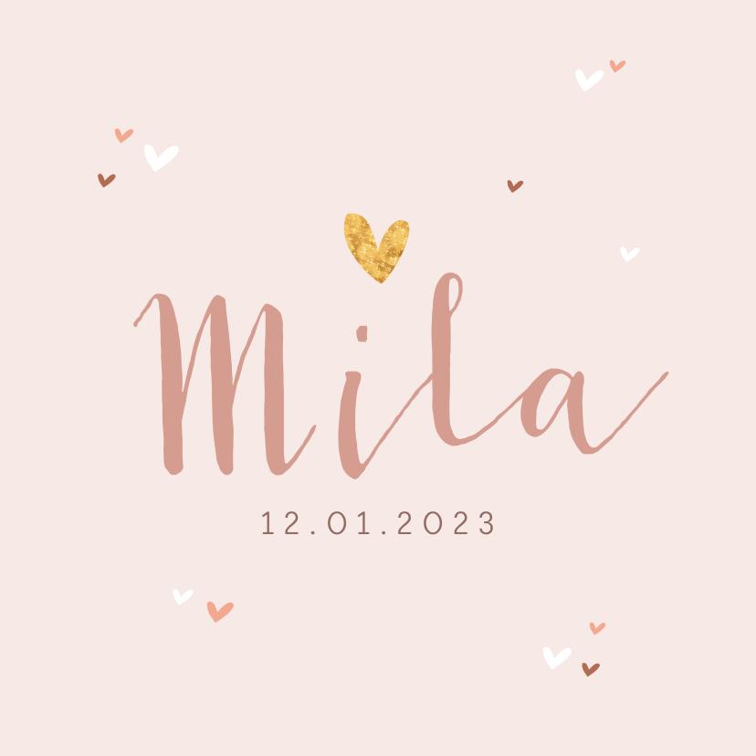 Geboortekaartjes - Geboortekaartje meisje roze hartjes subtiel stijlvol goud