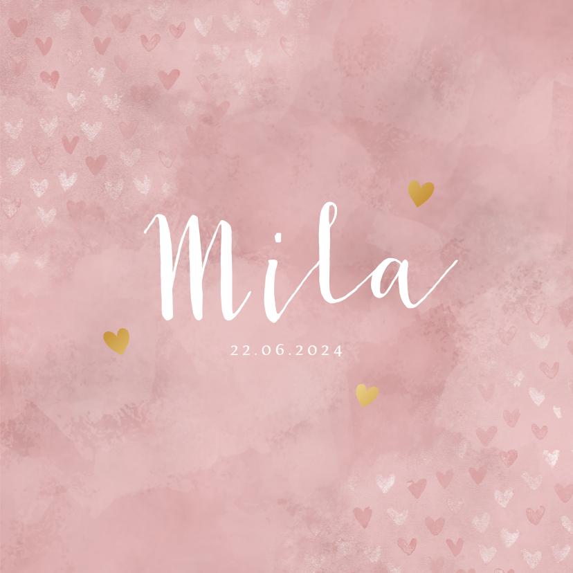 Geboortekaartjes - Geboortekaartje meisje roze waterverf en foliedruk hartjes