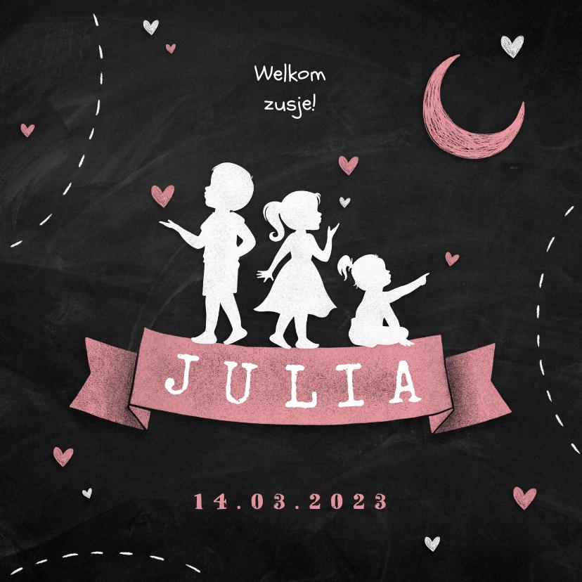 Geboortekaartjes - Geboortekaartje meisje silhouet stoer zusje broertje familie