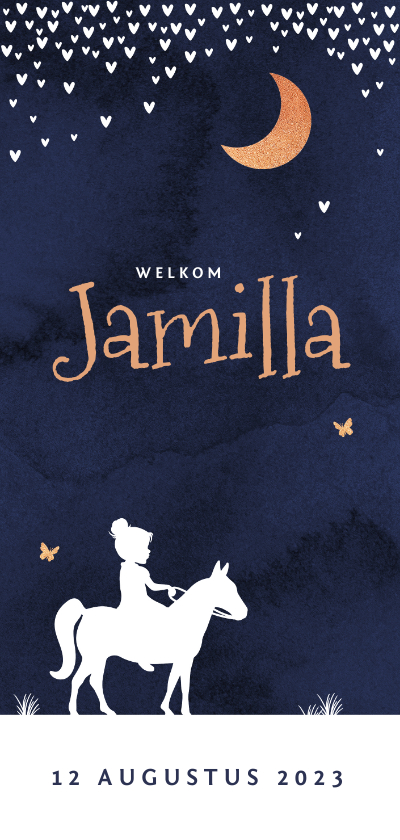 Geboortekaartjes - Geboortekaartje meisje sterren hartjes maan silhouet paard