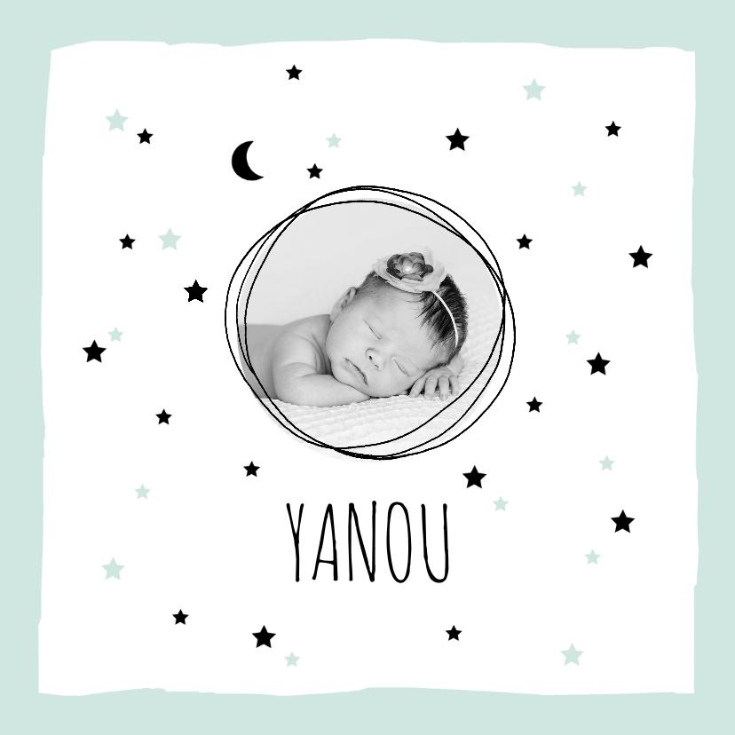 Geboortekaartjes - Geboortekaartje meisje sterren maan foto hip