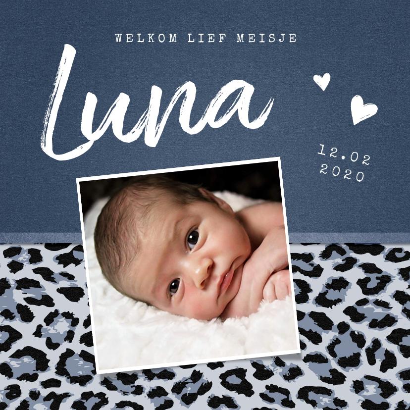 Geboortekaartjes - Geboortekaartje meisje stoer met luipaard print en foto