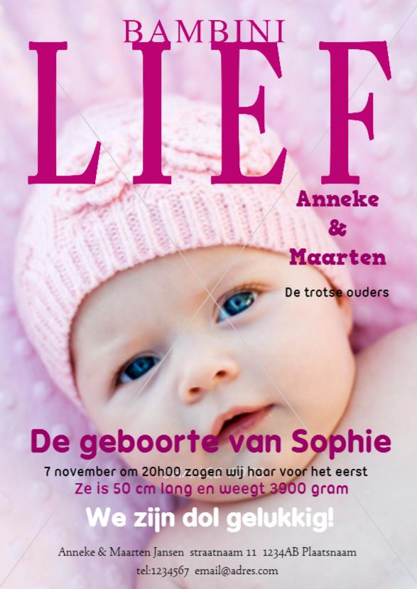 Geboortekaartjes - Geboortekaartje Meisje Tijdschrift