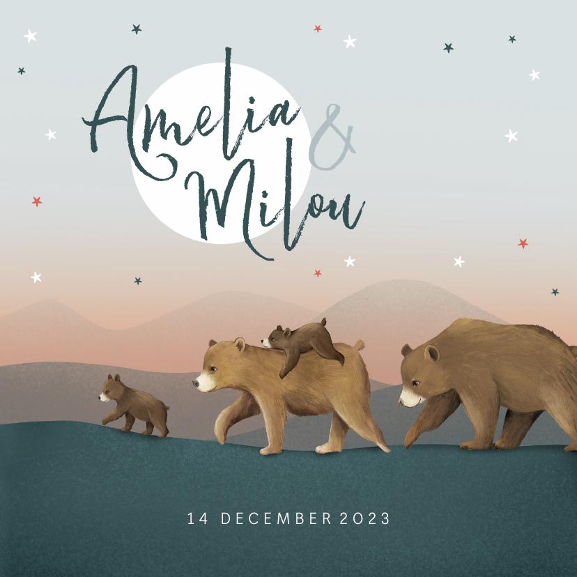 Geboortekaartjes - Geboortekaartje meisje tweeling dieren beren familie sterren