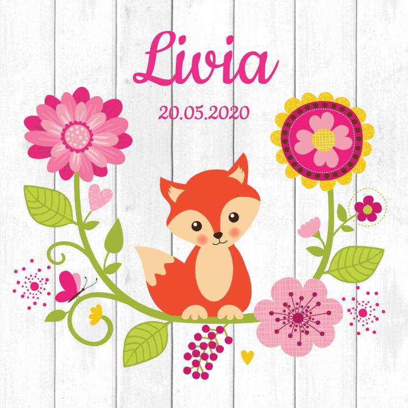 Geboortekaartjes - Geboortekaartje meisje vos bloemen