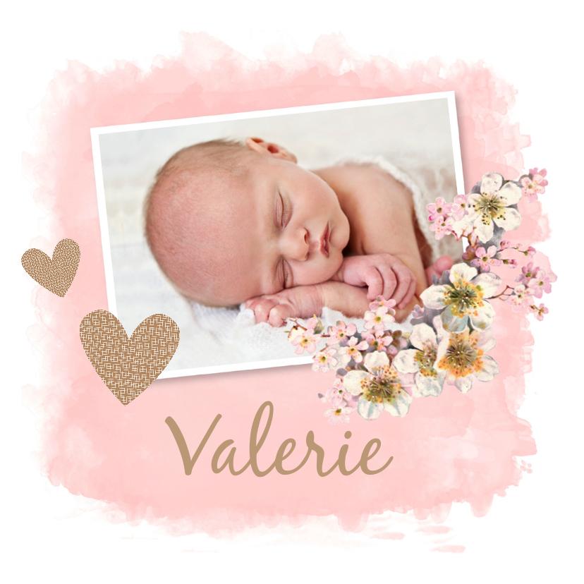 Geboortekaartjes - Geboortekaartje meisje  waterverf foto