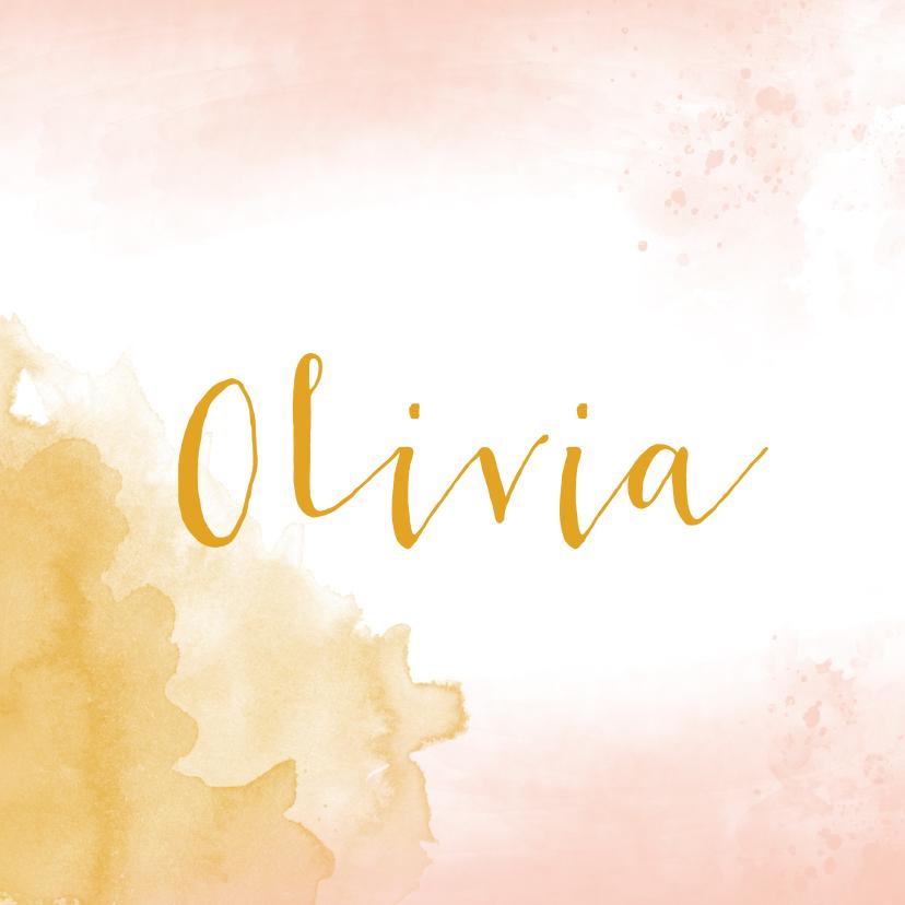 Geboortekaartjes - Geboortekaartje meisje waterverf oker goud en roze