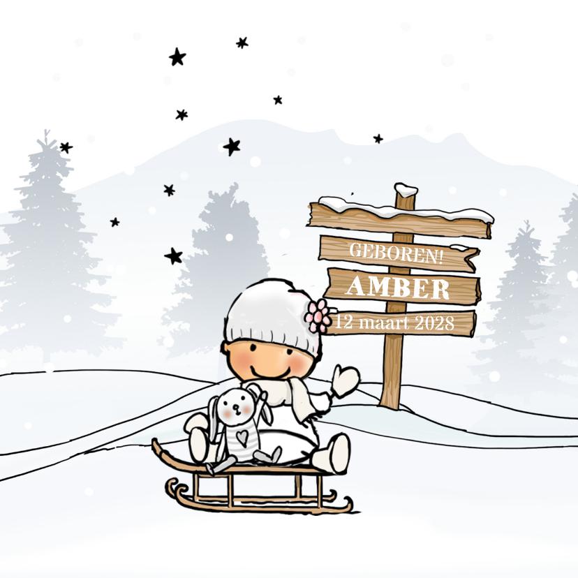 Geboortekaartjes - Geboortekaartje meisje winter av