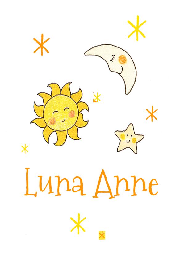 Geboortekaartjes - Geboortekaartje meisje zon maan