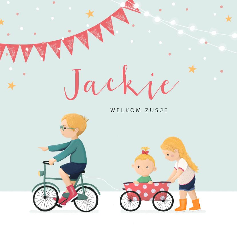 Geboortekaartjes - Geboortekaartje meisje zusje feest fiets karretje