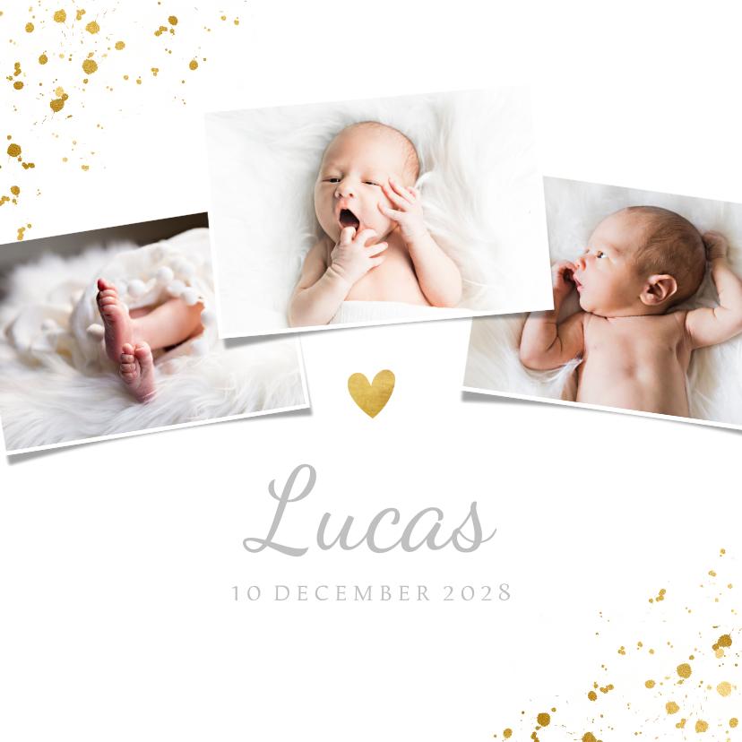 Geboortekaartjes - Geboortekaartje met 3 foto's en goudaccenten