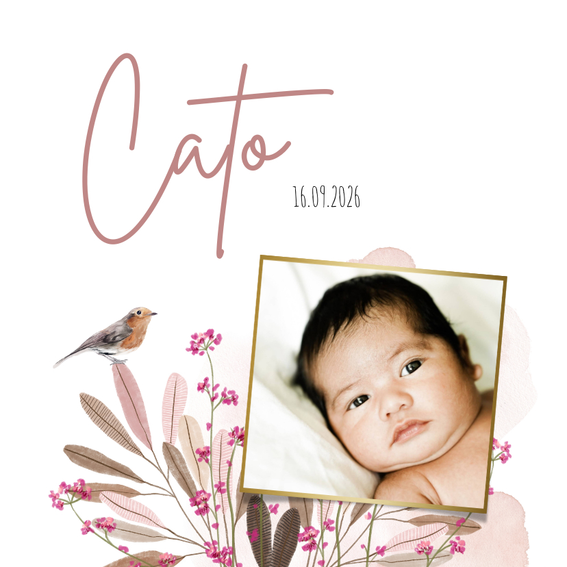 Geboortekaartjes - Geboortekaartje met bloemen, waterverf en vogeltje