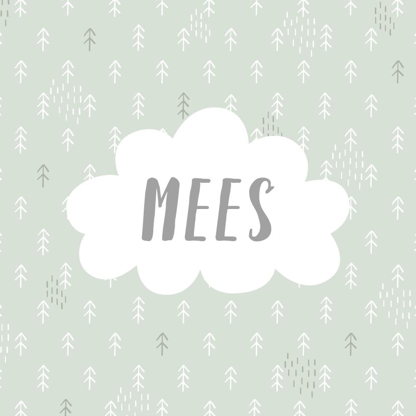 Geboortekaartjes - Geboortekaartje met bomen patroontje en wolk