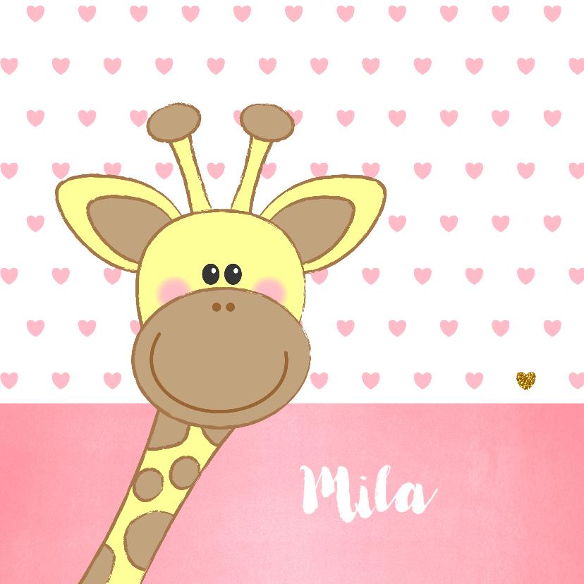 Geboortekaartjes - Geboortekaartje met een lief girafje en roze hartjes